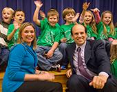 Milken Educator Award. Mike traveled to Houston to present a Milken Educator Award to second-grade teacher Maggie Calagna at Armand Bayou Elementary School.